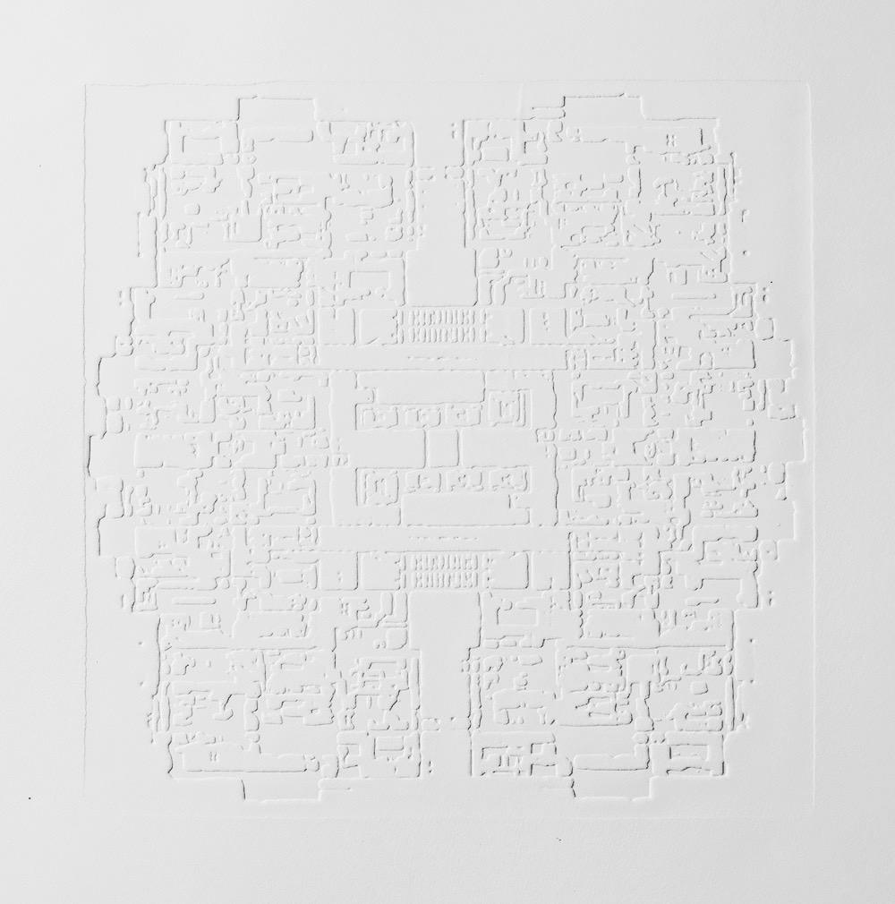 Groundwork III , 2016, zinc embossing on Hahnemuhle paper, 25 x 25 cm