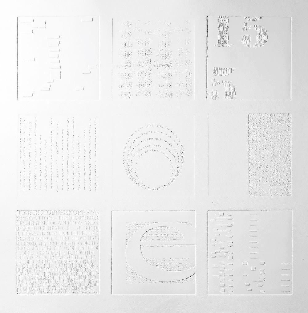 15:5,  2016, zinc emboss on Hahnemuhle paper,  45 x 45 cm