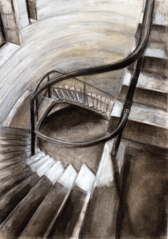 collected space II , 2015, charcoal, goache and conte crayon, 59.4 x 42 cm
