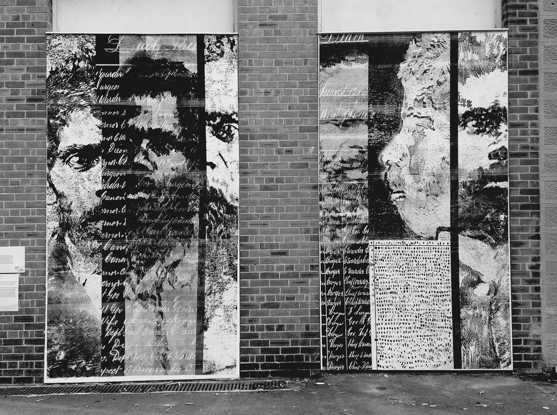 Indigenous Prisoners of Darlinghurst Gaol  (detail) ,  National Art School Wall Mural, 2016, paste-up monoprints, each panel size 391 x 219 cm