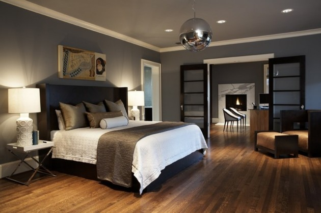 A large bedroom with adjoining study cozies up in warm browns and grays. Via  Architecture Art Designs .