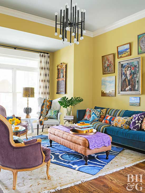 Buttery yellow is the foundation for a supremely fun living space. Via Better Homes and Gardens .