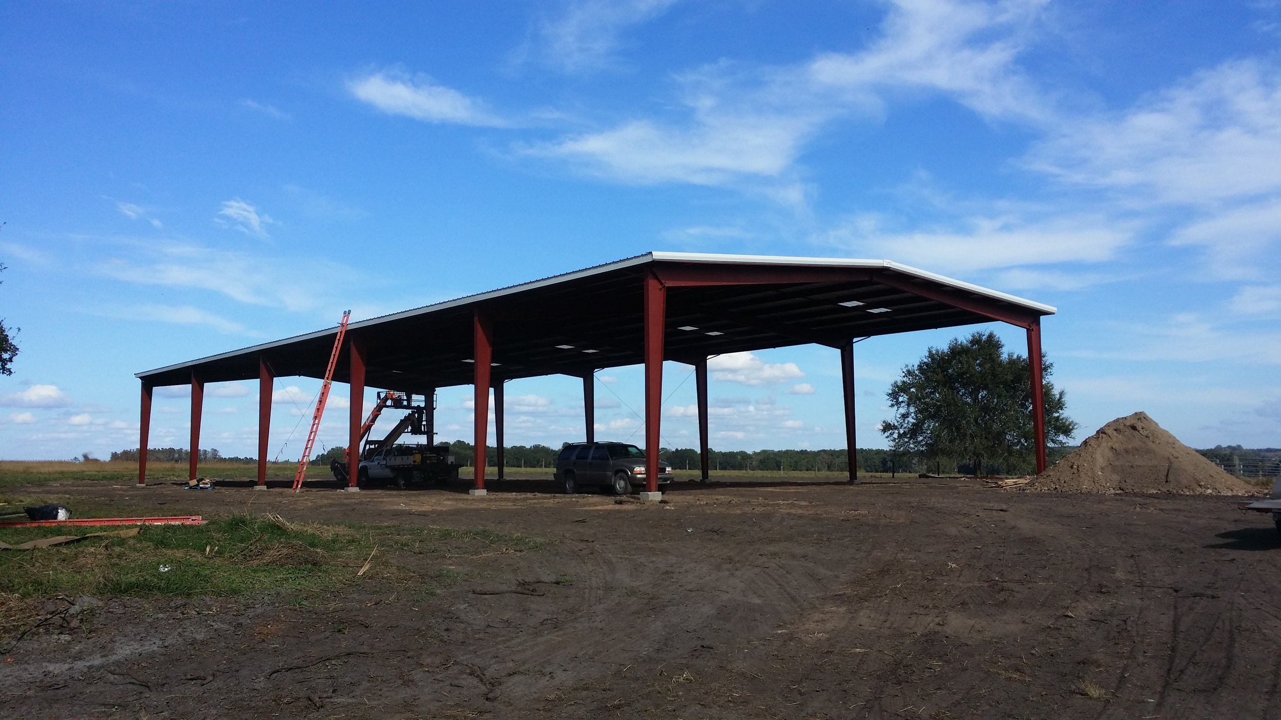The pole barn we use for storing tractors and other equipment.