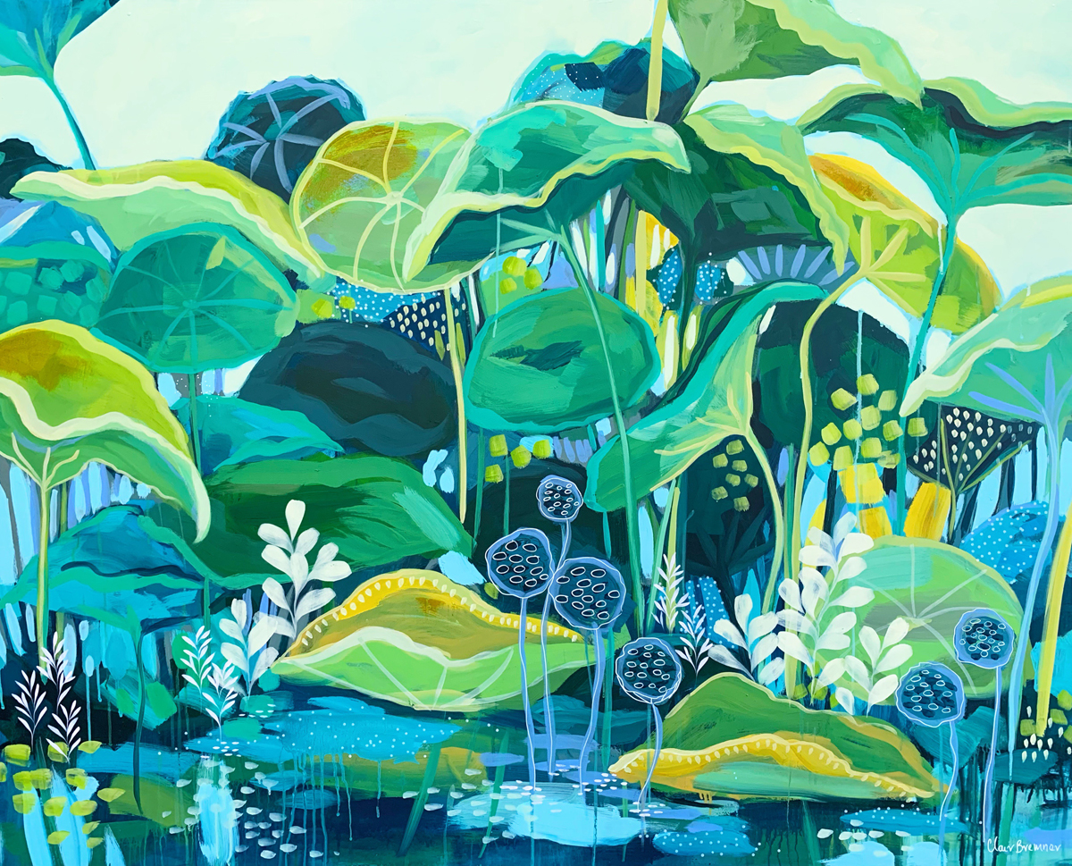 The Lotus Pond, 122cms150cm Acrylic on Stretched canvas. April 2019