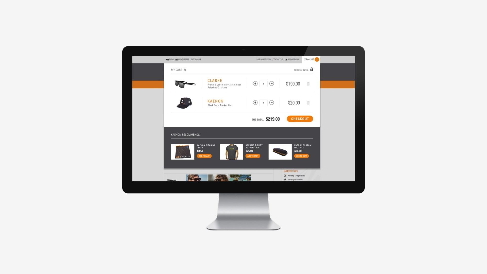 Kaenon: Shopping Cart/Checkout Process