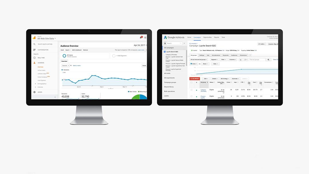 Layrite: Google Analytics, Adwords