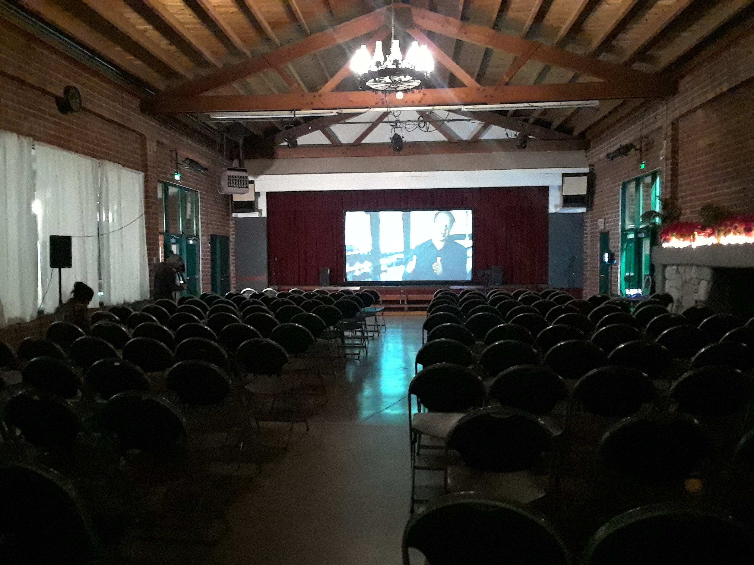 Set up of the Topanga screening.
