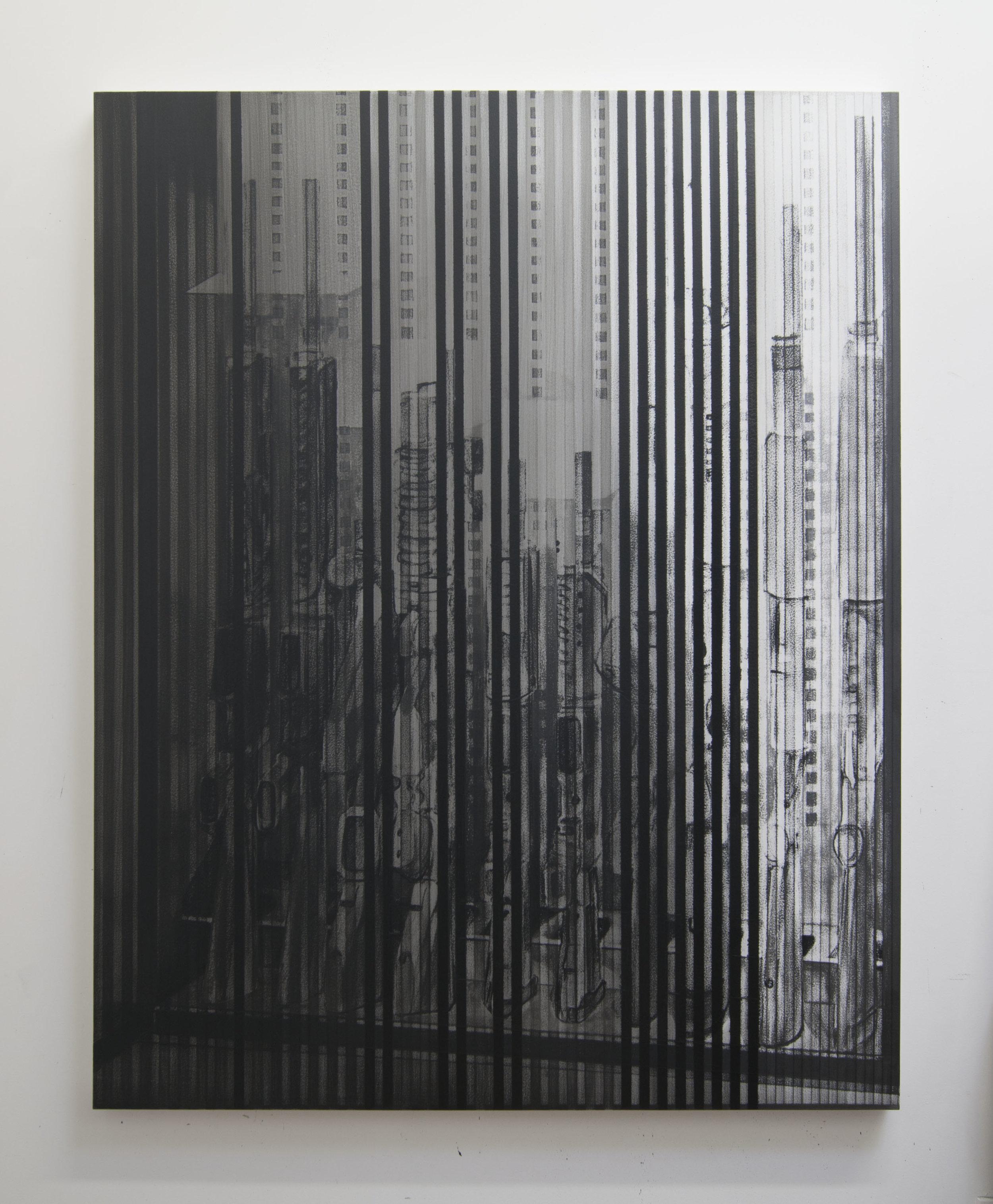 Rifle Locker IX, 2015  Acrylic on panel, 56 x 44 inches