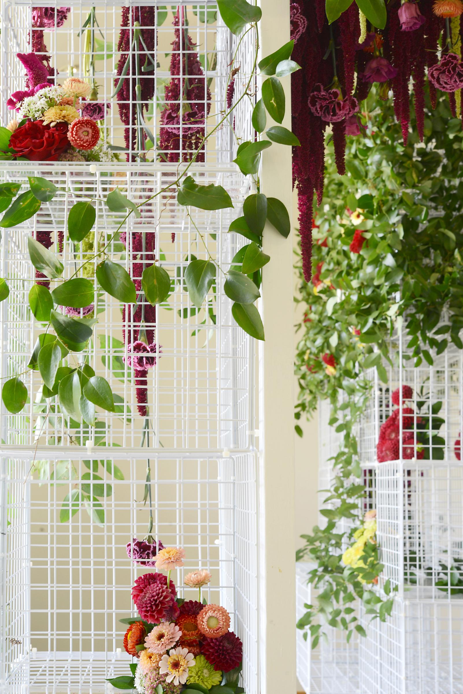 Full of details - tucked in arrangements, strings of flowers hanging inside
