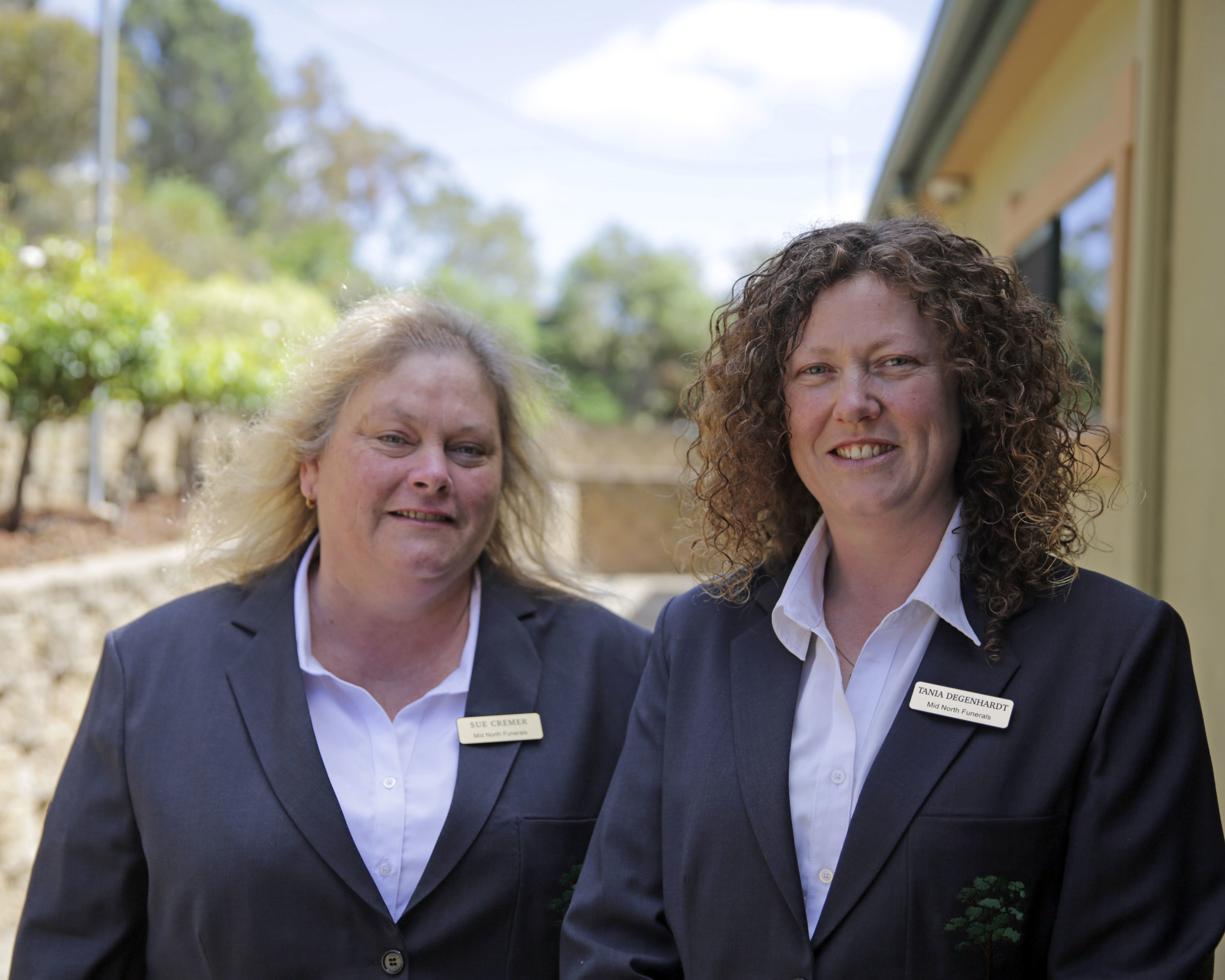 Sue Cremer (L) is the daughter and step daughter of Lee and Eric Clode, respectively. She has been a Funeral Directing Assistant since 2006. Tania Degenhardt (R) is Mid North Funerals' Manager. She began work with Eric in Burra in 1997.