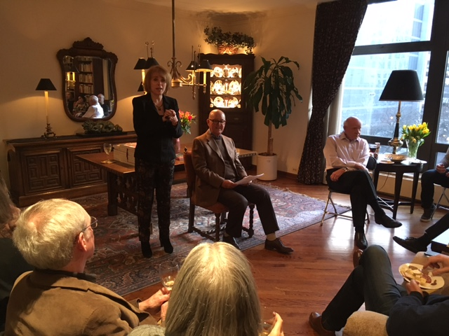 Rita introducing Ellis Goodman at her ninth literary salon
