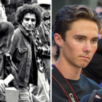 Abbie Hoffman  &  david hogg : too good at this? must be Professional instigators or actors really?