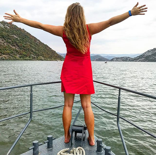 Happiness in red - on boat trip on Lake Skadar in Montenegro 🇲🇪 #boatride #ladyinred #reddress #montenegro #travelblogger #TheTravelInspector