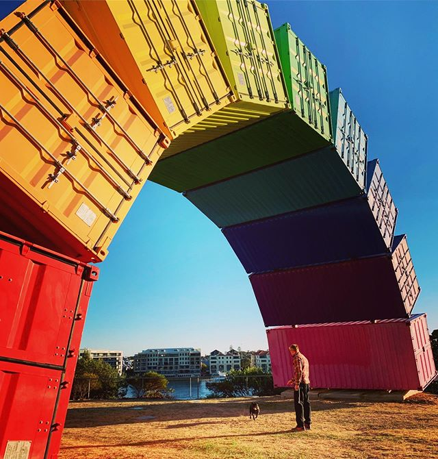 Obedience training at its finest! Not a bad little spot for a stroll down at Fremantle. #dogtraining #fremantle #rainbowcontainers #adventure #beatthesun