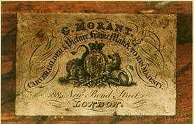 Maker's label: on reverse, George Morant, Carver, Gilder and Picture Frame Maker to His Majesty, 88 New Bond Street, London.