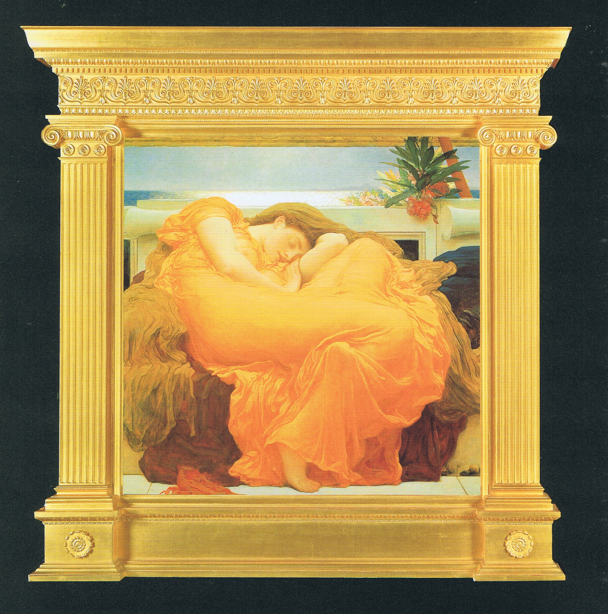 Frederic, Lord Leighton  Flaming June  1895, oil on canvas, 46 7/8 x 46 7/8 ins. Courtesy, Museo de Arte de Ponce, the Louis A. Ferré Foundation Inc., Puerto Rico. Reproduction of original tabernacle frame designed by Frederic, Lord Leighton, commissioned by Christie's and made by Arnold Wiggins & Sons Limited, 1996.