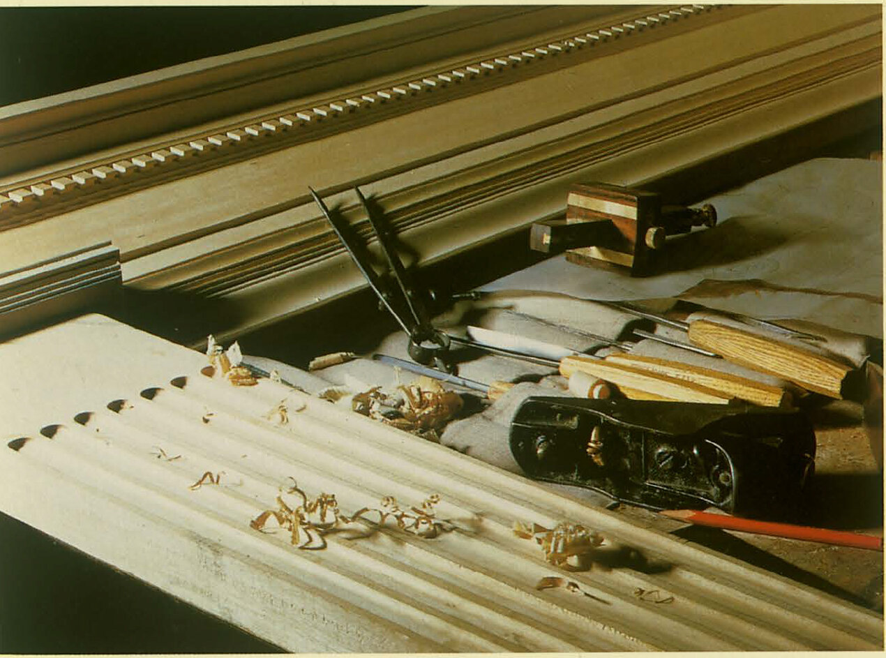 Drawings were made of the section and the ornament of the frame, Both modern machinery and nineteenth century moulding planes were used to shape the moulding which were assembled using half lapp and tenon joints.