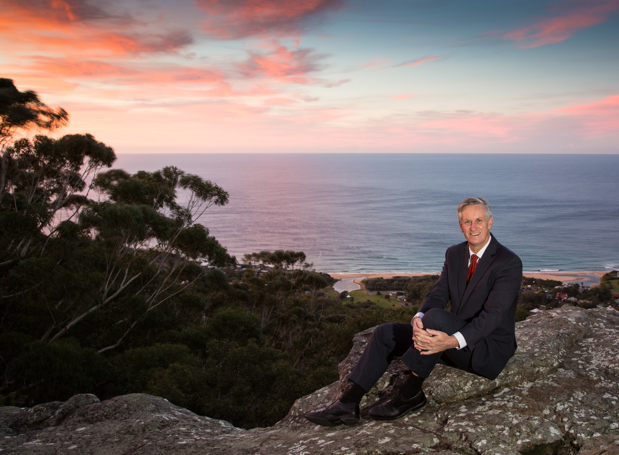 John Corker on the escarpment near his home on the coast between Wollongong and the Royal National Park.