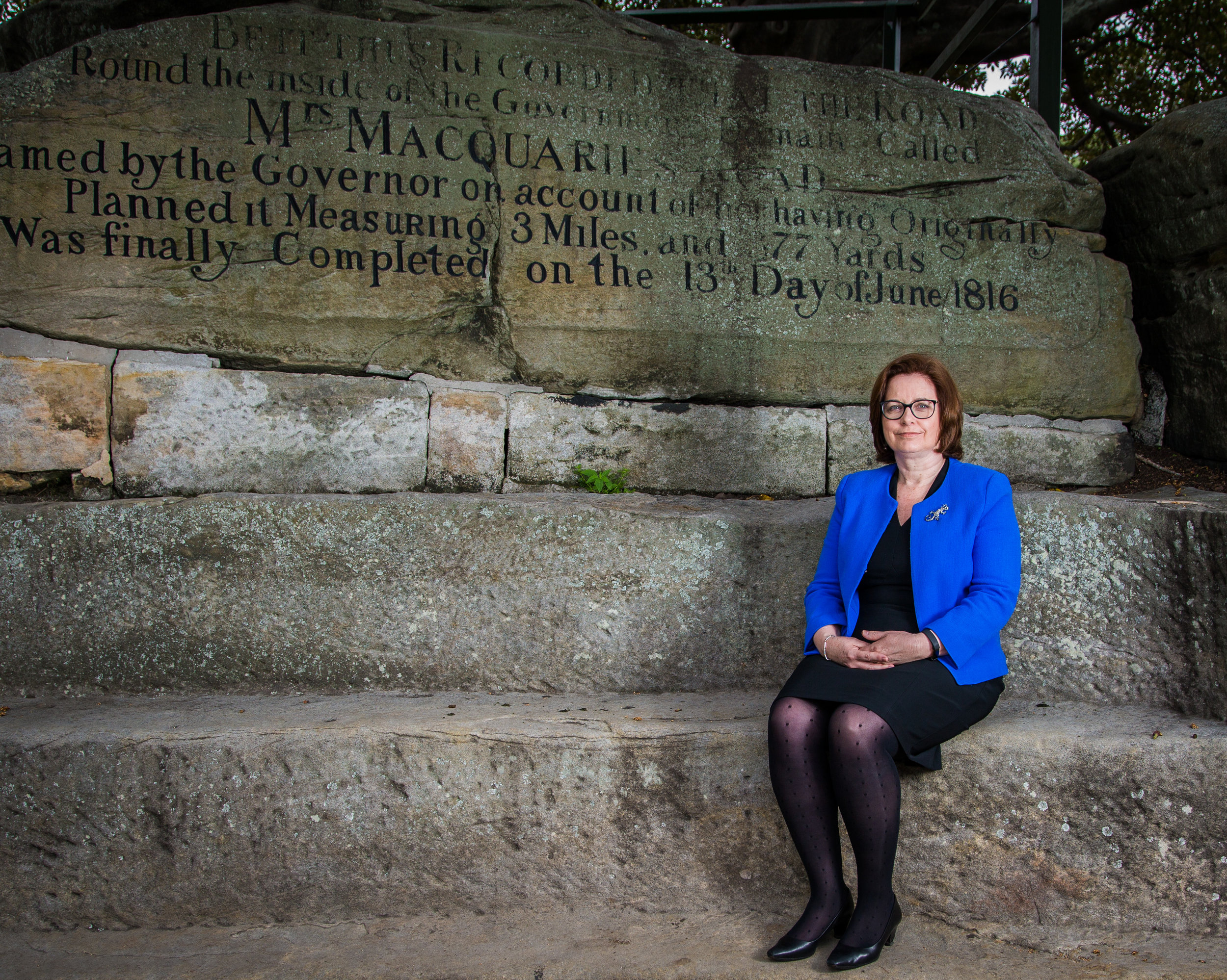 Sue Gilchrist at Lady Macquarie's Chair.