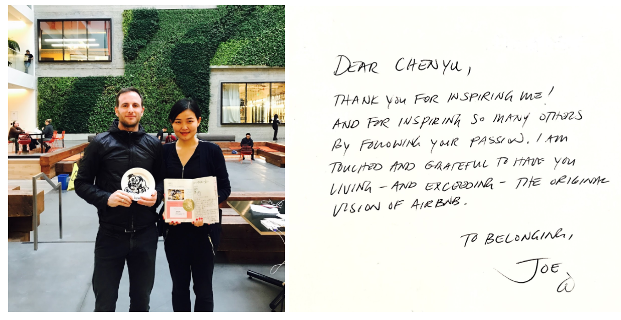 "Airbnb's co-founder and Chief Product Officer Joe Gebbia left a note in Chenyu's Host book ""Thank you for living and exceeding the original vision of Airbnb."""