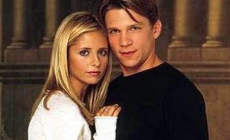 "Marc Blucas with Sarah Michelle Gellar in ""Buffy the Vampire Slayer""  - Source, WFU Magazine original post"