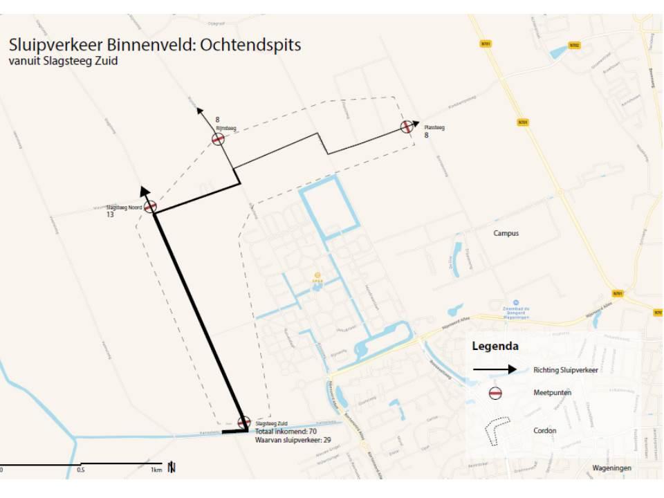 Ochtendspits in het Binnenveld. Route Nieuwe Kanaal - Slagsteeg, Rijnsteeg en Campus