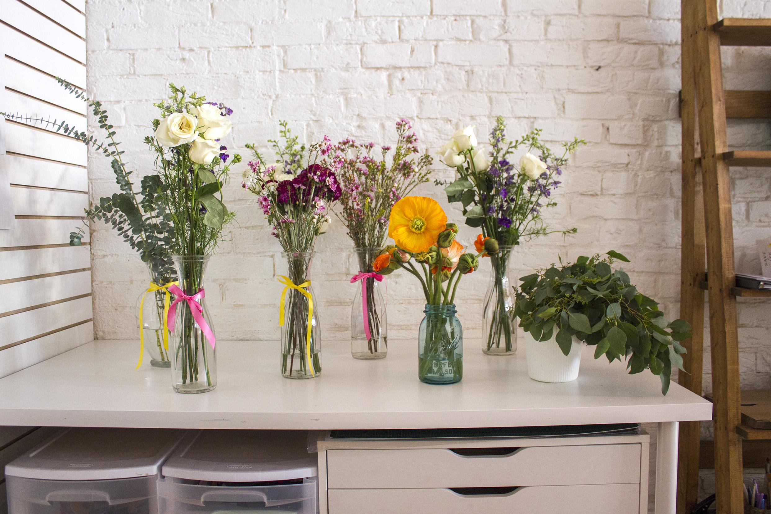 Flower bar all set up! Everyone got to make a mini bouquet!