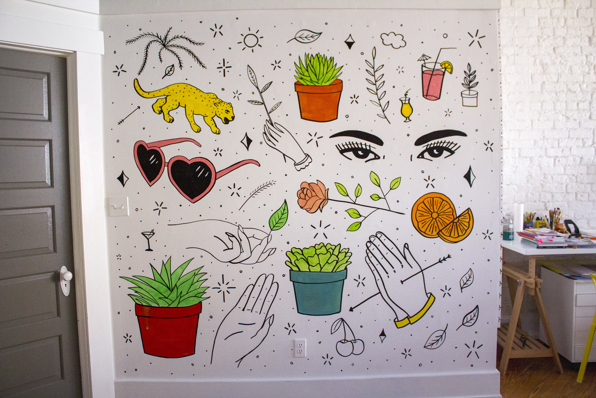 matt mcdole was our maker of the month and made this sweet mural for our space.
