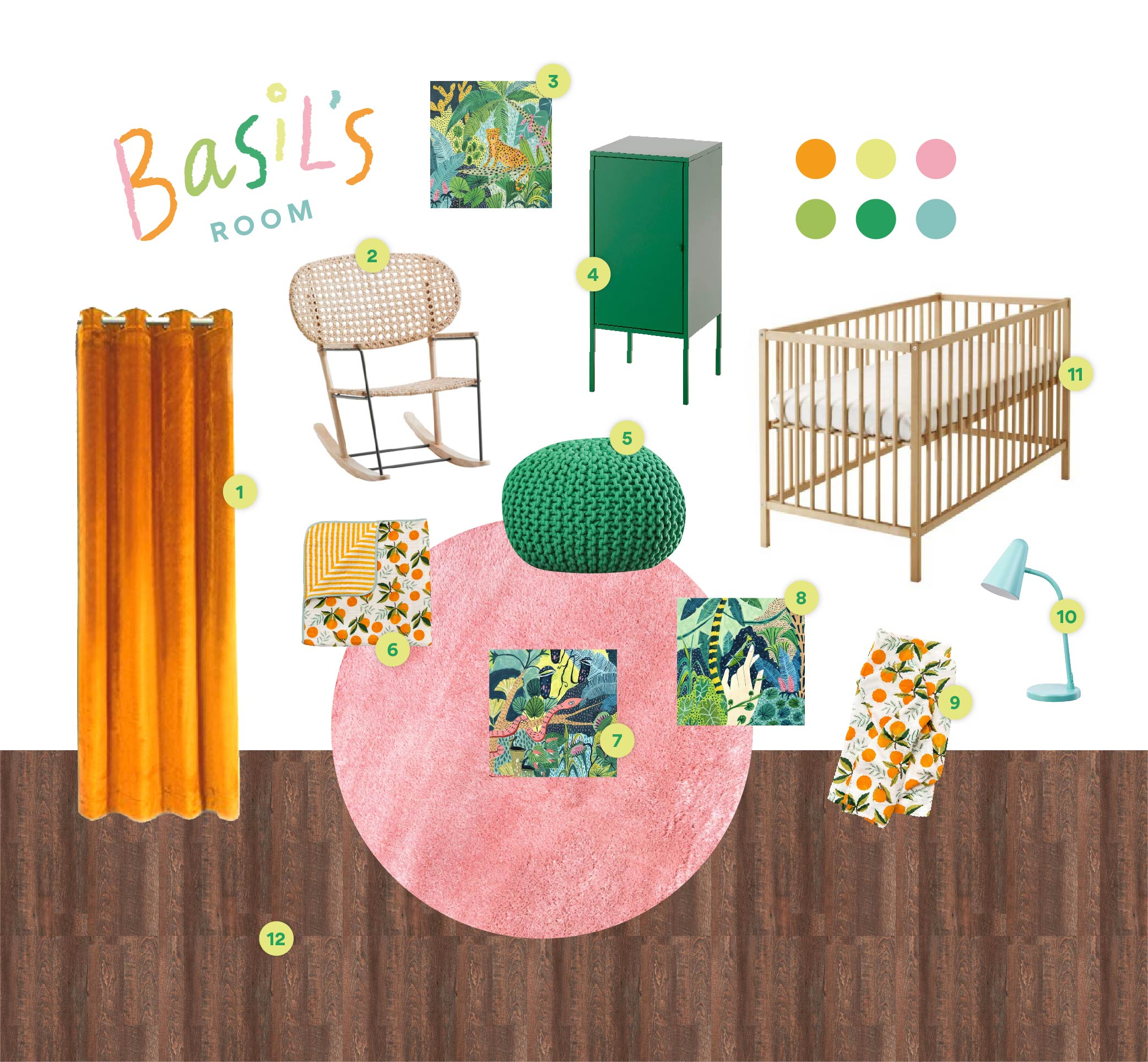 Vision Board for Basil's Room! Except it's no longer a vision board and it's more like a reality board because we bought everything and are now in the process of putting it all together! Links below!