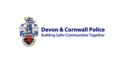 Devon and Cornwall Police logo with a their crest next to the words 'Building safer communities together'