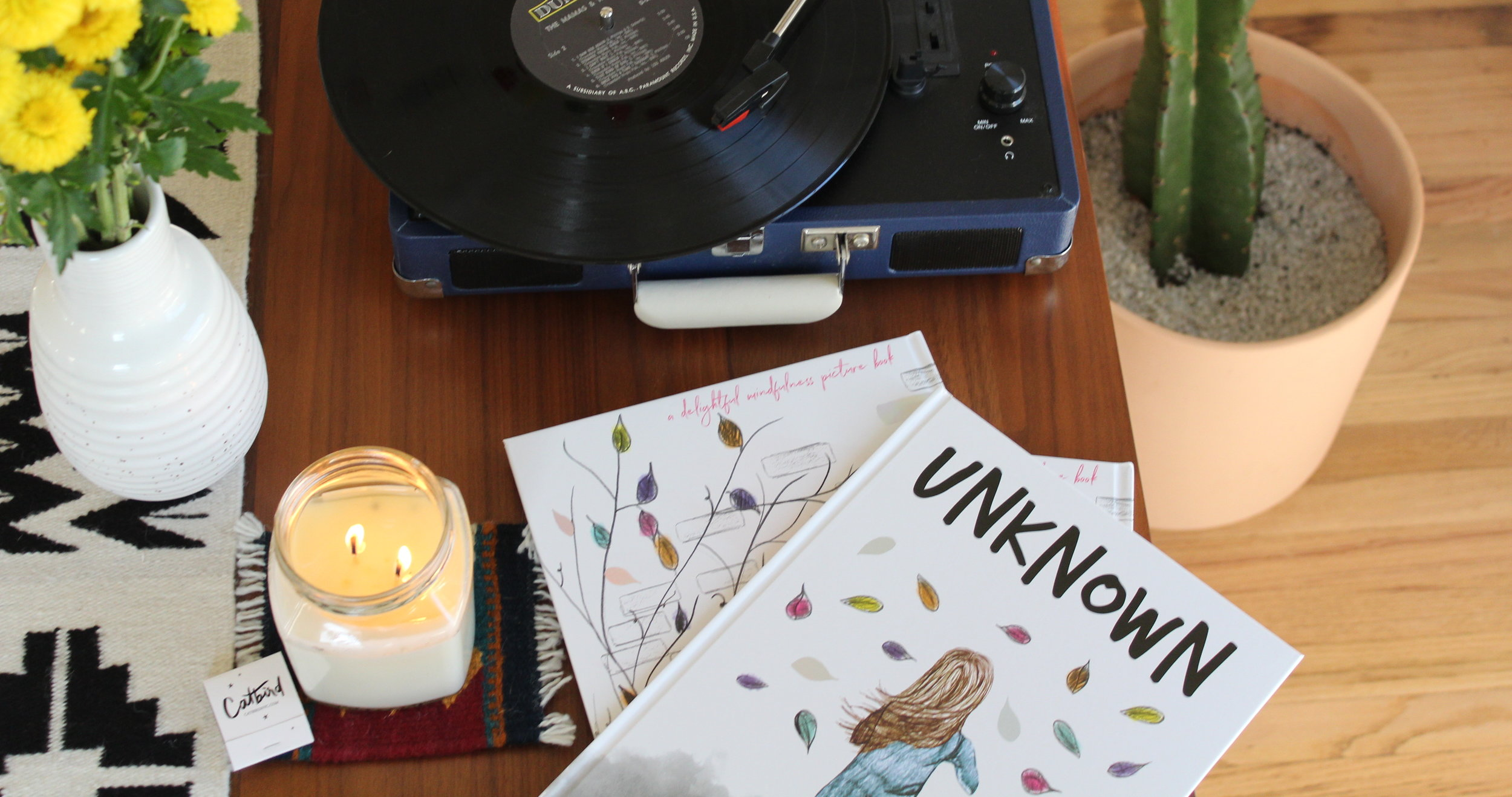 record-player-catbird-jewelry-candle-matches-cactus-flowers-unknown-a-book-about-mindfulness-stephen-wawryk-luna-maha-meditation-amazon-books
