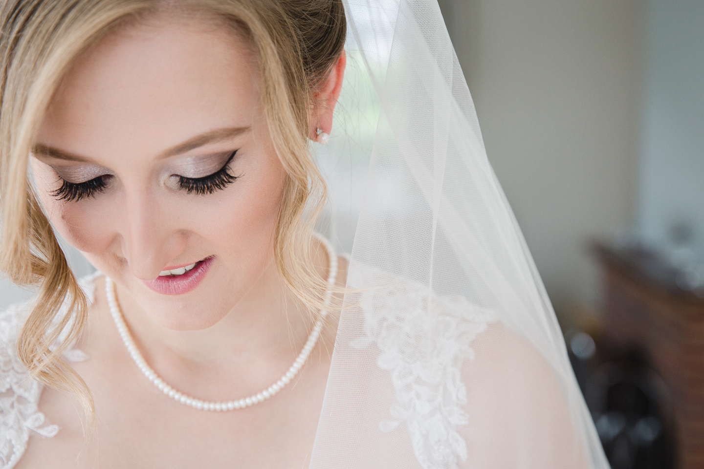 Bridal makeup with false eyelashes