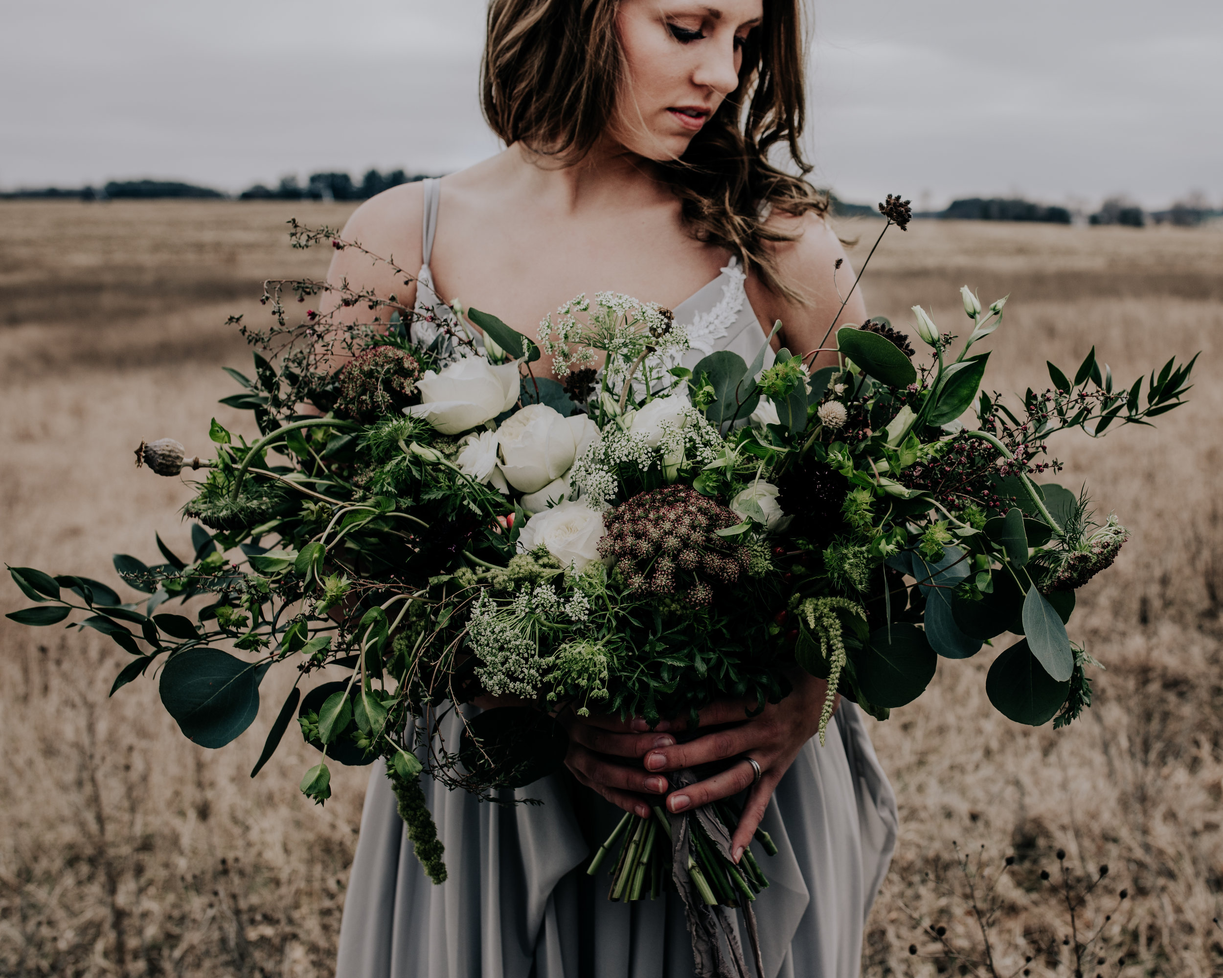 Midwestern Bride Styling - Monica Rose Freng Custom Designed Wedding Gowns - Jennifer Joyce Designs Florals