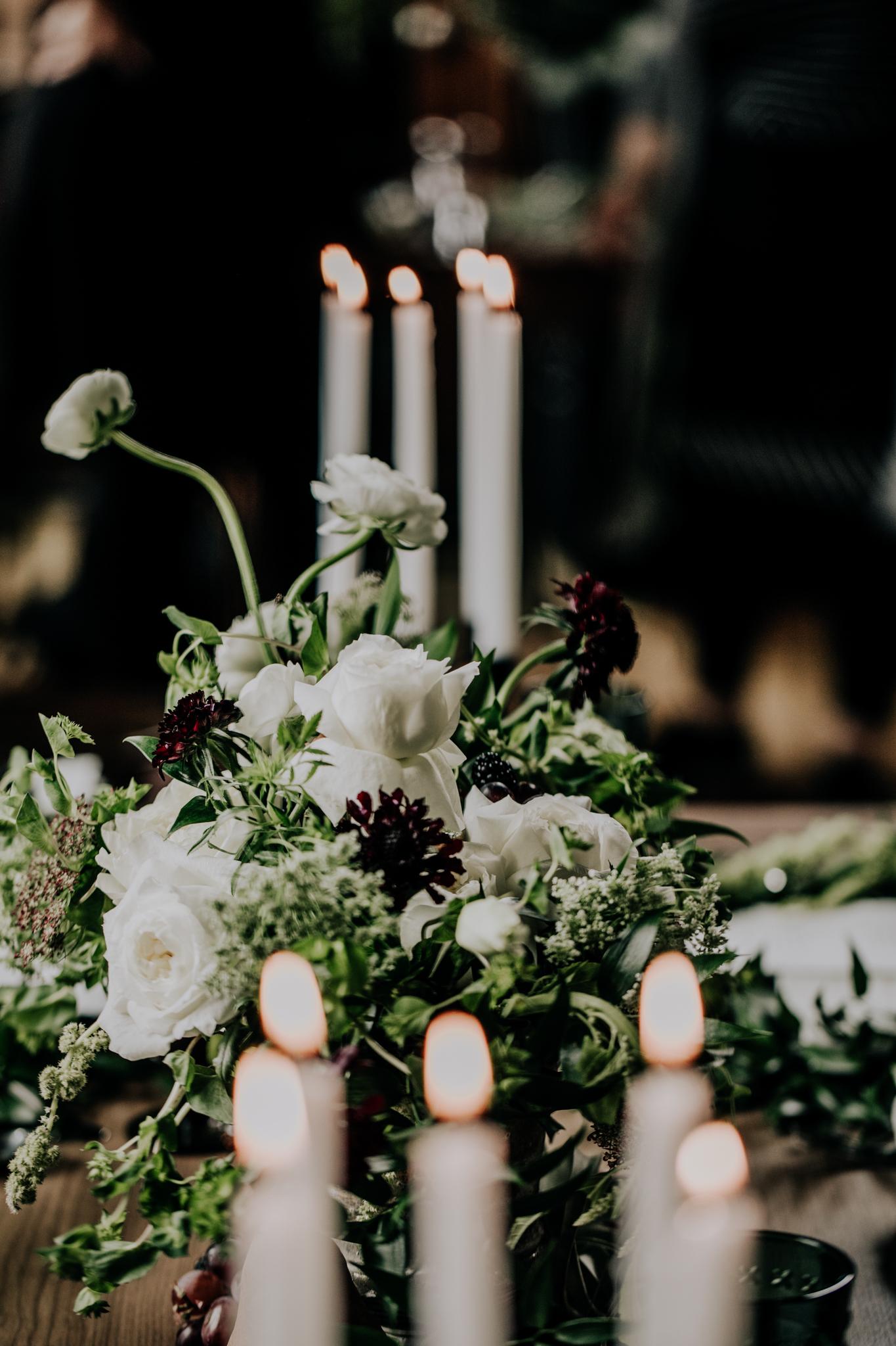 Jennifer Joyce Floral Designs - Greenery & Candles Wedding - Table Decor - Magnolia Market Place settings - Hove Photography