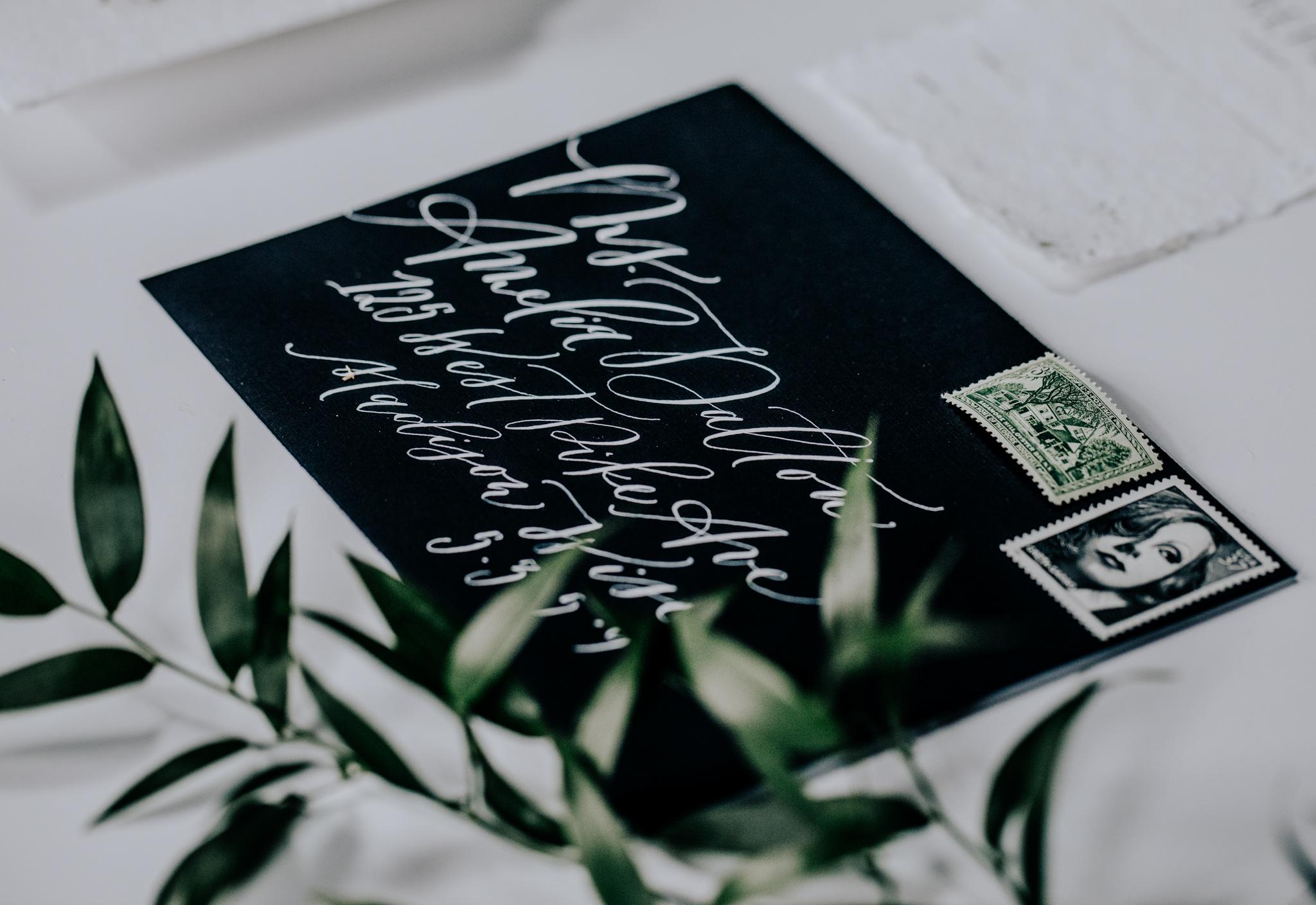 Saffron Avenue- Custom Calligraphy Invitation Suite - Hove Photography