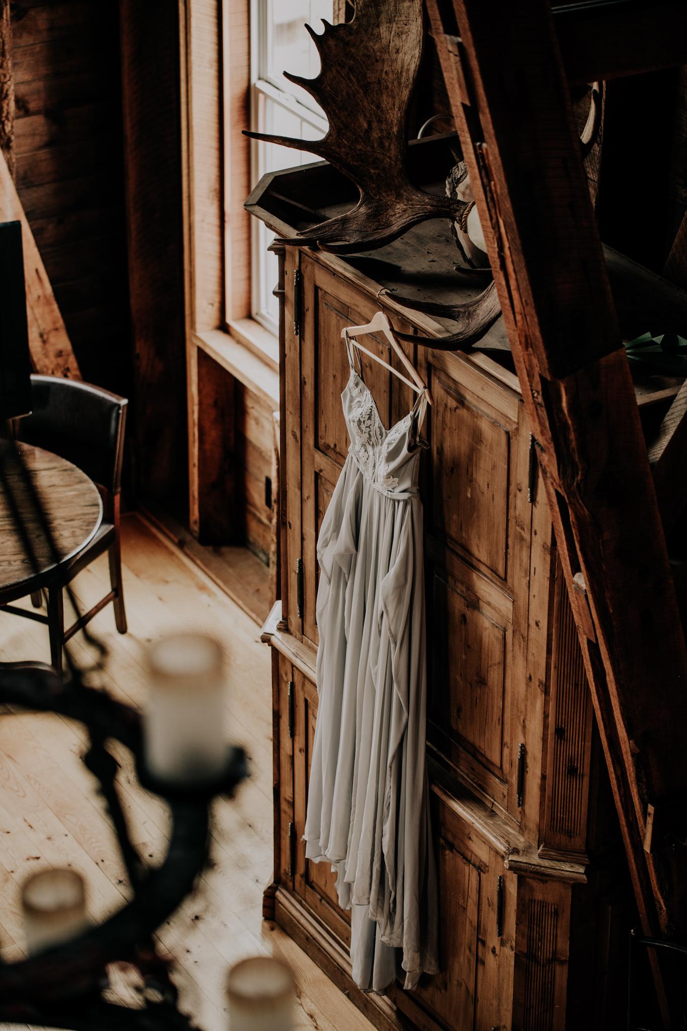 Monica Rose Freng Wedding Dress - Custom Dress - Chiffon - Cabin Wedding - Hove Photography