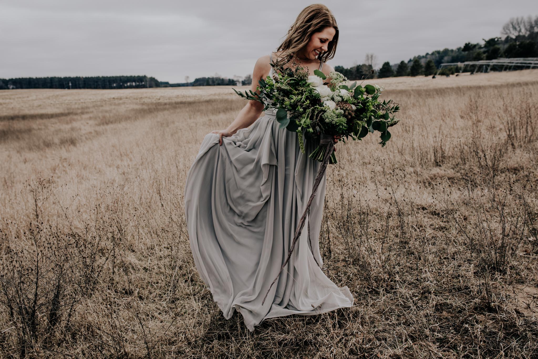 Monica Rose Freng Custom Wedding Gown - Flowy Gown - Large Green Bouquet - Eucalyptus Wedding - Adventure Elopement - Hove Photography