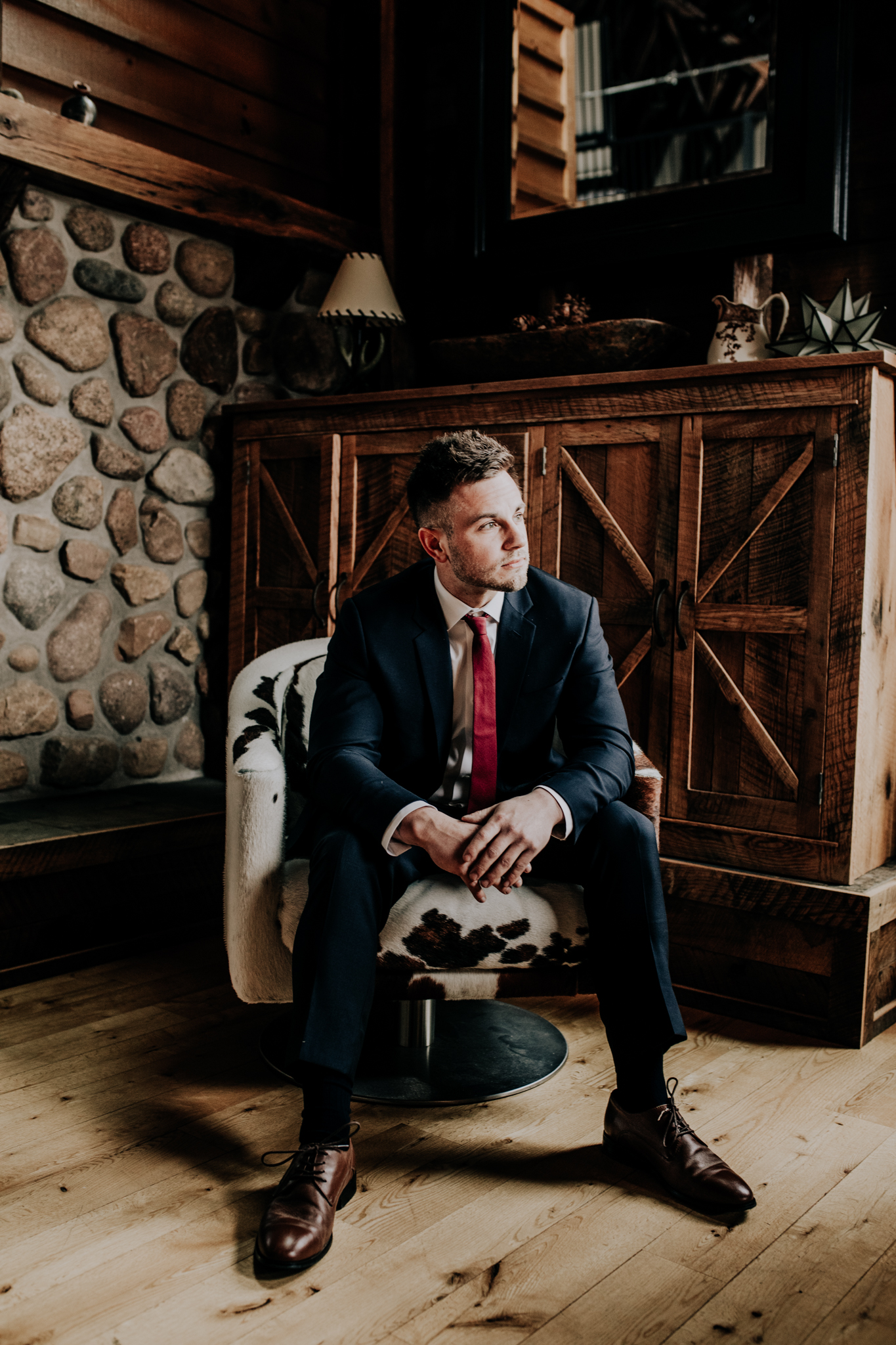 The Black Tux - Groom Photos - Midwestern Bride Styling - Rustic Wedding - Cabin - Hove Photography