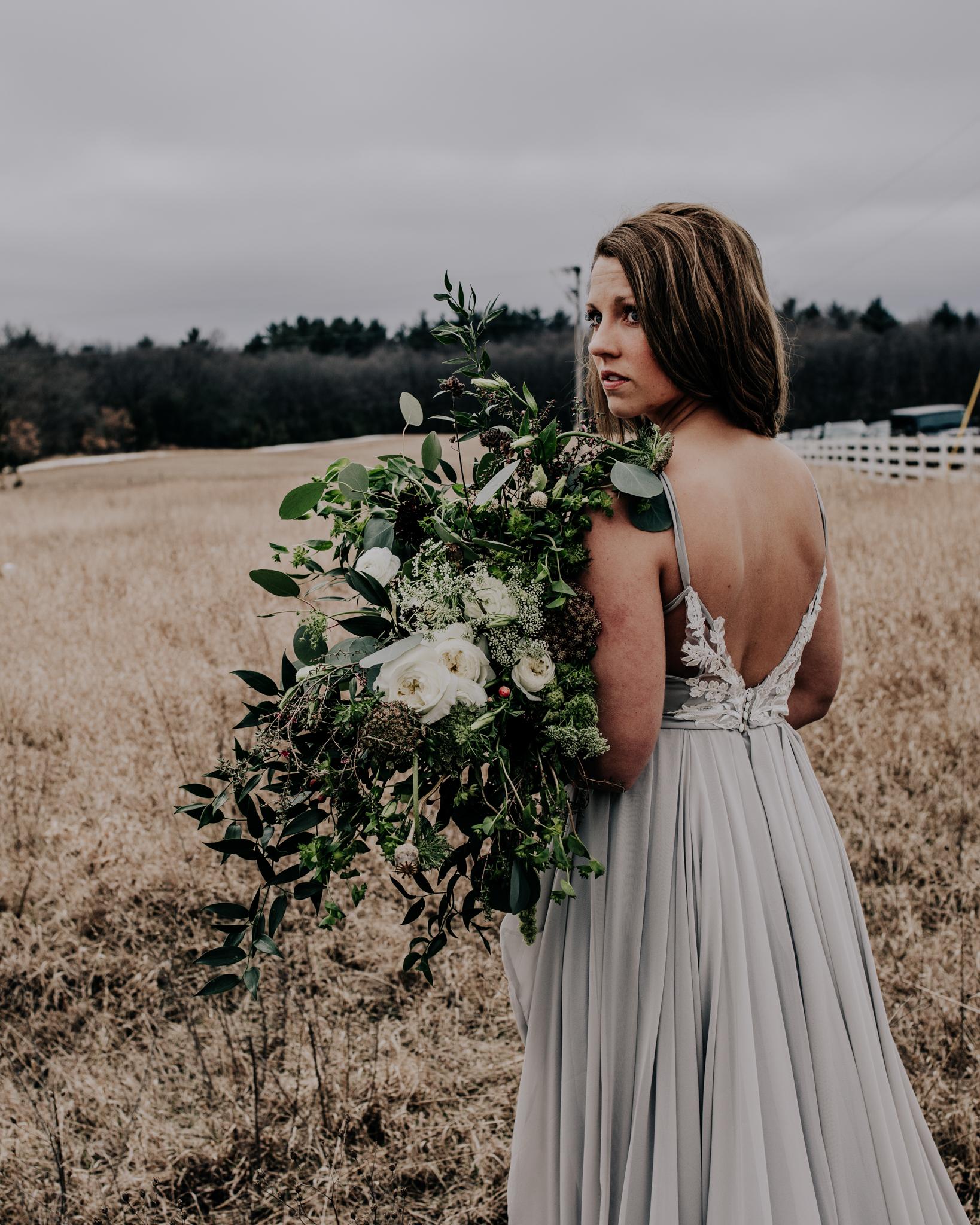 Jennifer Joyce Design - Florals - Green Bouquet - Lace Back Wedding Dress - Hove Photography
