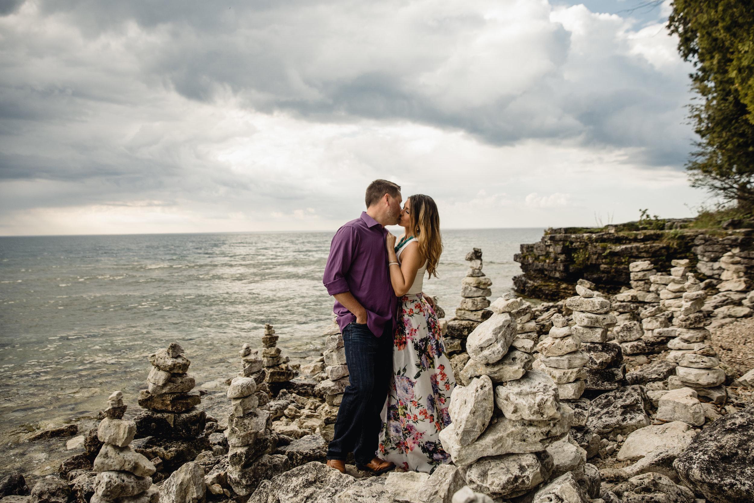 Door County Wedding Photographer - Door County Engagement - Cave Point - Adventure Engagement - Elopement Photographer