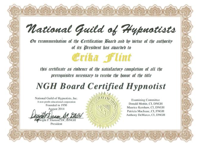 Erika Flint, Board Certified Hypnotist