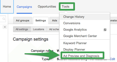 Ad Preview and Diagnosis Tool