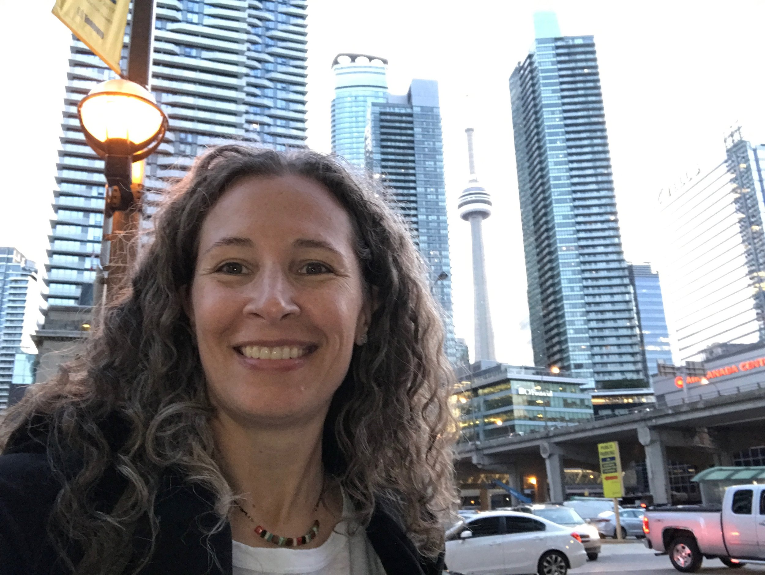 Toronto is beautiful! Behind me is the CN Tower which was completed in 1976 and held the record for the tallest free-standing structure for 5 years.