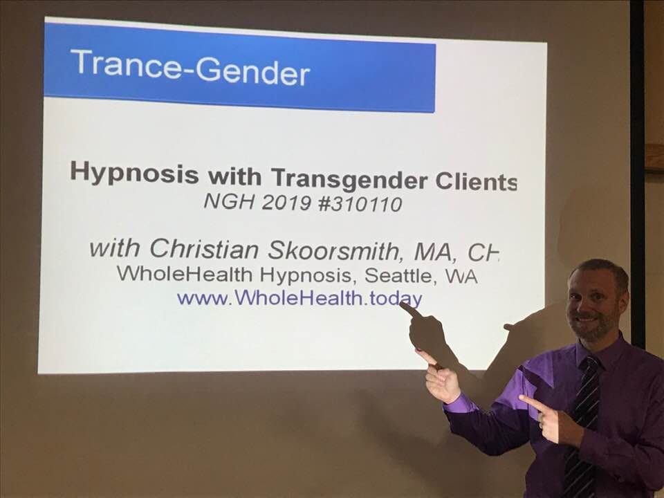 Christian Skoormsmith gave an amazing talk on Hypnosis with Transgendered Clients. I am so proud of him! -