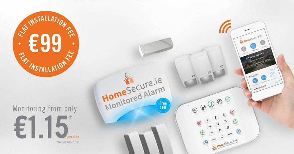 house alarm pack with panel and sensors