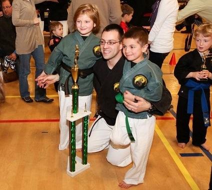 Karate posing with the kids.jpg