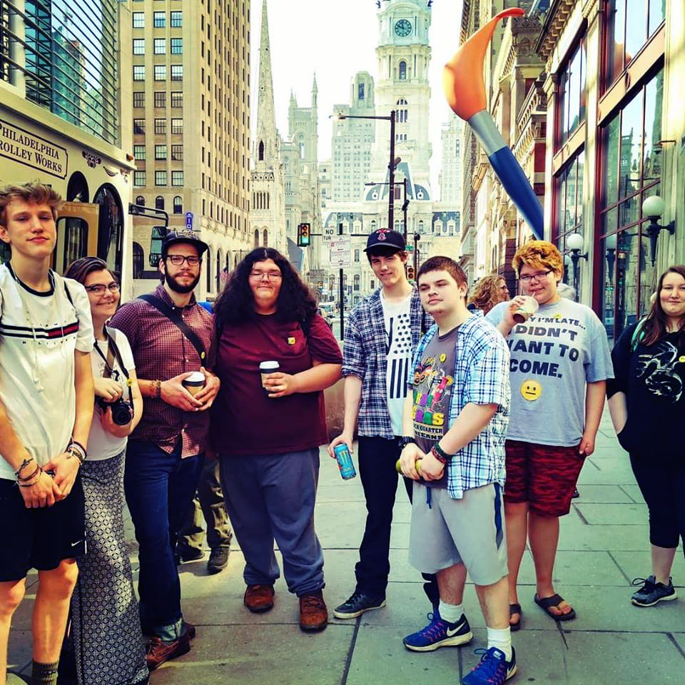 Michael with students on their recent trip to Philadelphia