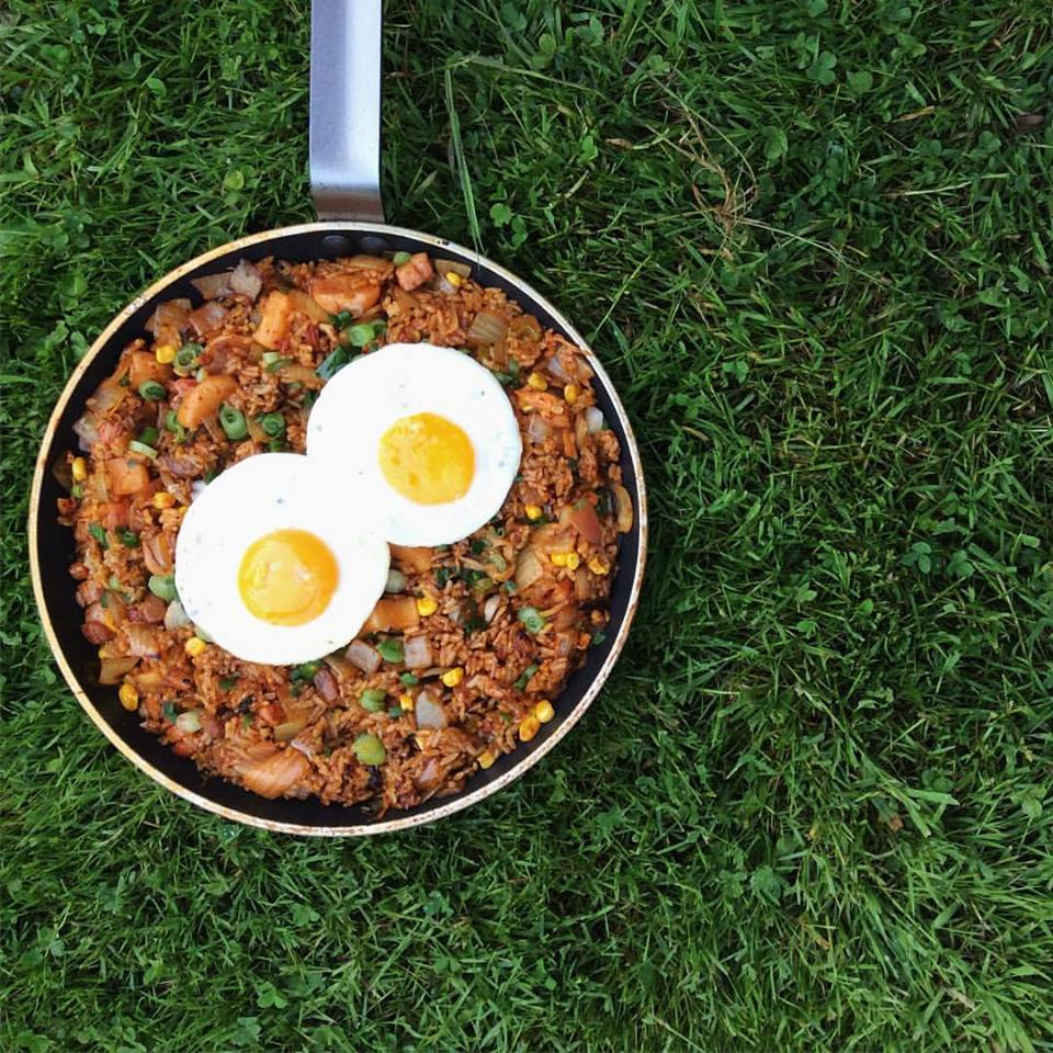 kimchi fried rice with pancetta sweet corns and egg yolks.jpg