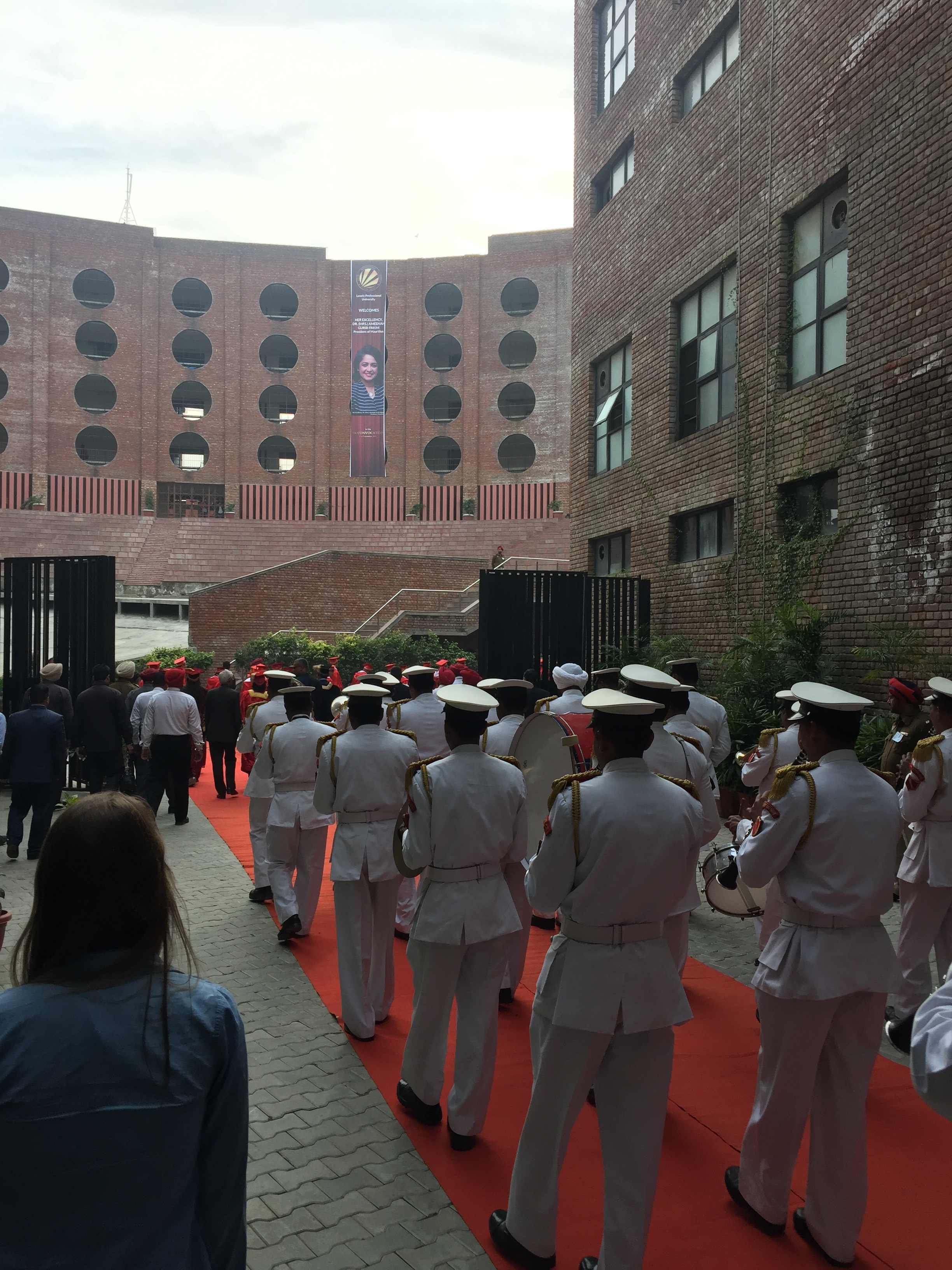 """Walking with the marching band into the commencement. There's uncomfortable, and then there's """"marching into the front of an auditorium in front of an entire Indian university graduation ceremony with the band"""" uncomfortable."""