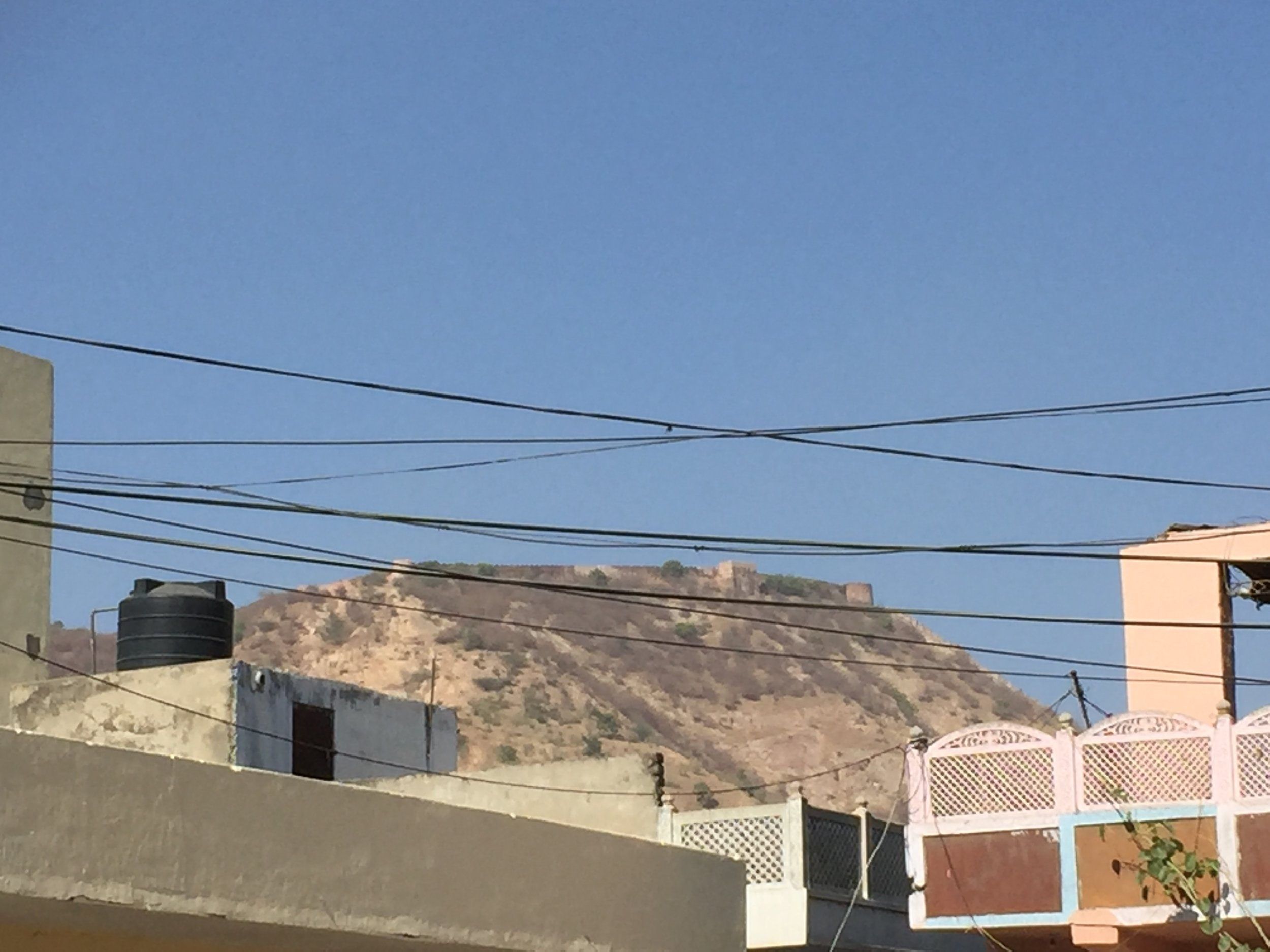 Nahargarh Fort overlooking the town.